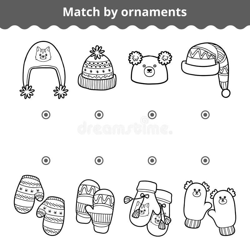 Aanpassend spel voor kinderen, pas de vuisthandschoen en de hoeden door ornament aan vector illustratie