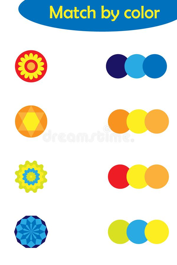 Aanpassend spel voor kinderen, verbind kleurrijke mandalas aan zelfde kleurenpalet, peuteraantekenvelactiviteit voor jonge geitje vector illustratie