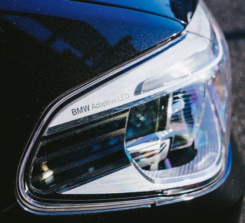 Aanpassings het Xenon LEIDEN van BMW koplampdetail stock foto's