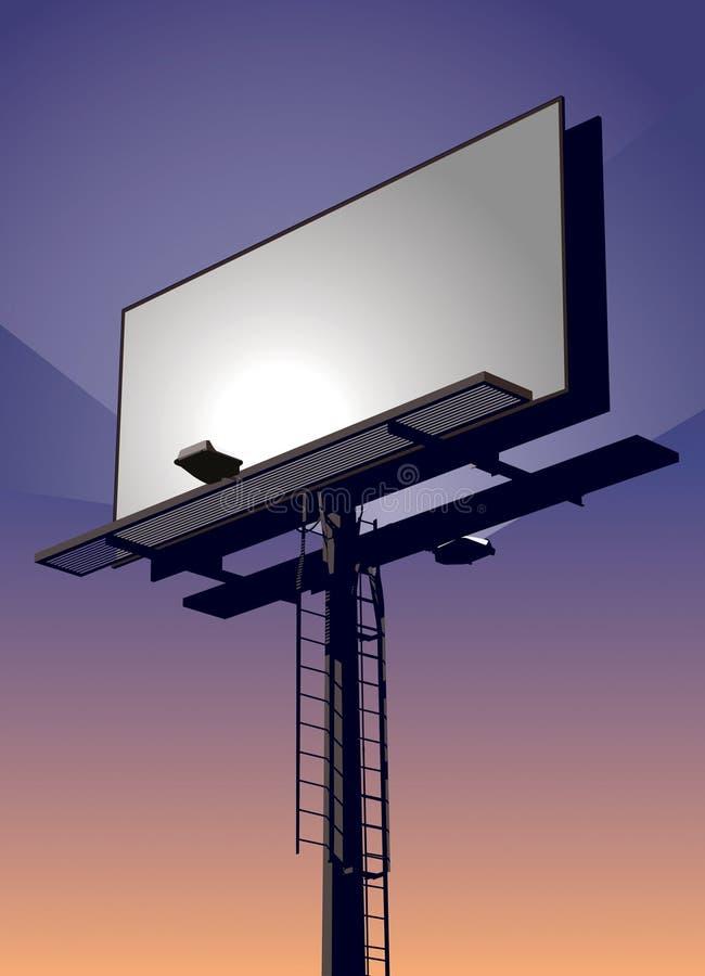 Aanplakbord bij Zonsondergang stock illustratie
