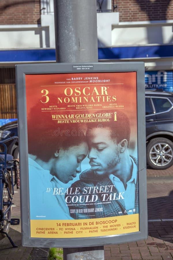 Aanplakbord de Film als Beale-de Straat bij het Nederland 2019 kon spreken van Amsterdam royalty-vrije stock foto