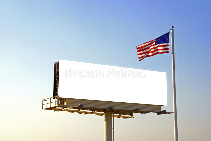 Aanplakbord en Amerikaanse Vlag royalty-vrije stock afbeeldingen