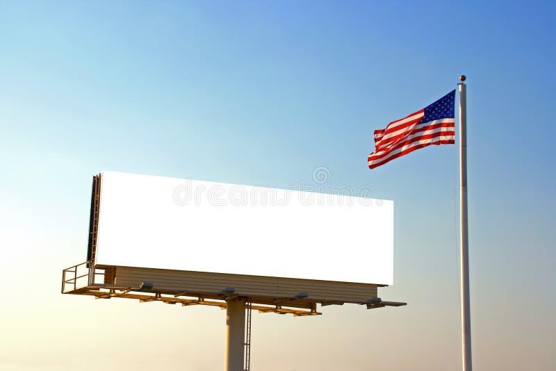 Aanplakbord en Amerikaanse Vlag royalty-vrije stock foto's