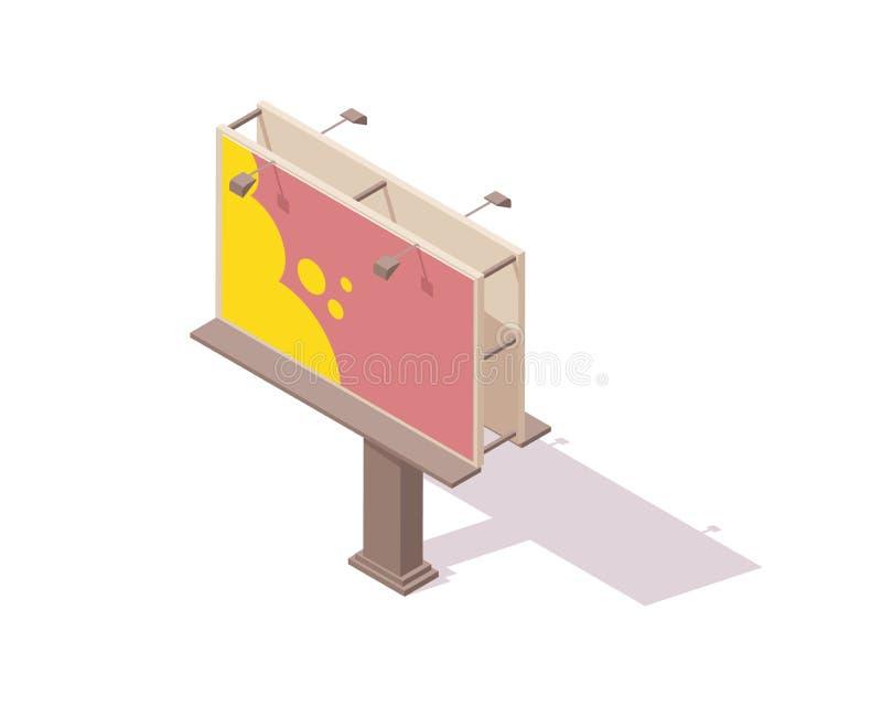 Aanplakbord isometrische vectorillustratie Malplaatje van stad bigboard met lichten voor marketing of bevordering ontwerp vector illustratie