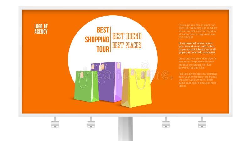 Aanplakbord met advertentie van het winkelen reis op wit, achtergrond, 3D illustratie wordt geïsoleerd die Banner met de beste me vector illustratie