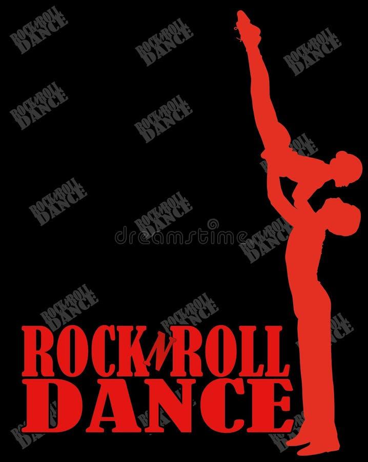Aanplakbord rots-n-broodje dans silhouetmannen en vrouwen royalty-vrije illustratie