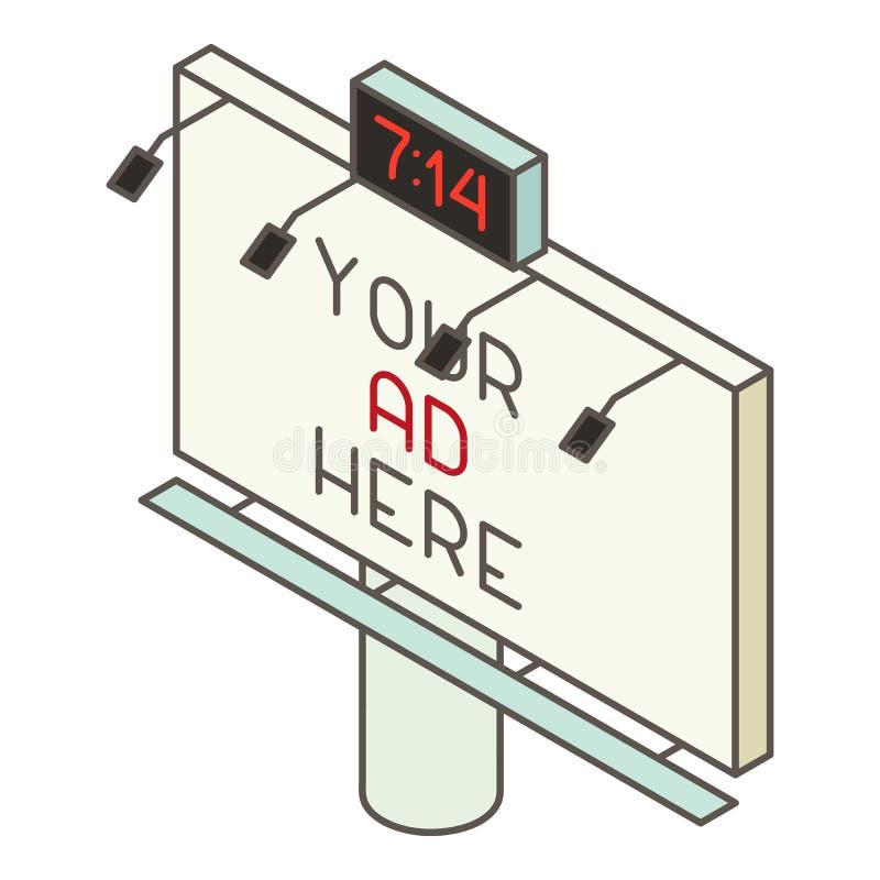 Aanplakbordpictogram, isometrische stijl vector illustratie