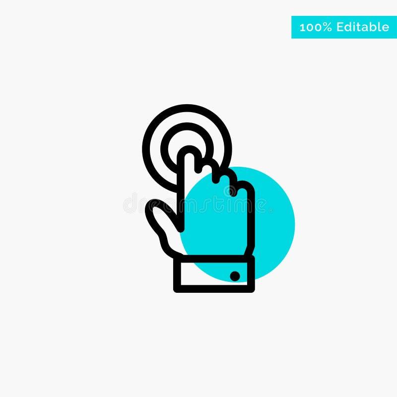 Aanraking, Touchscreen, Interface, van het de cirkelpunt van het Technologie het turkooise hoogtepunt Vectorpictogram royalty-vrije illustratie