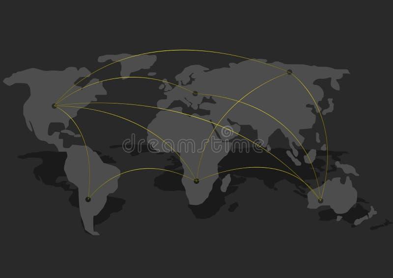 aansluting De kaart van de wereld vector illustratie