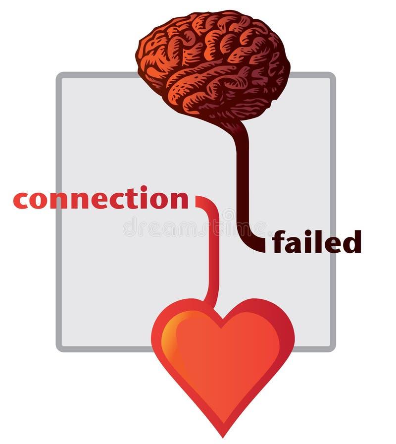 Aansluting tussen hart en hersenen vector illustratie