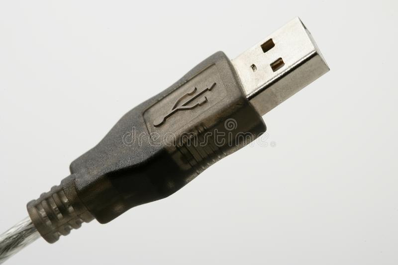Aansluting USB macroclose-up over wit stock foto's