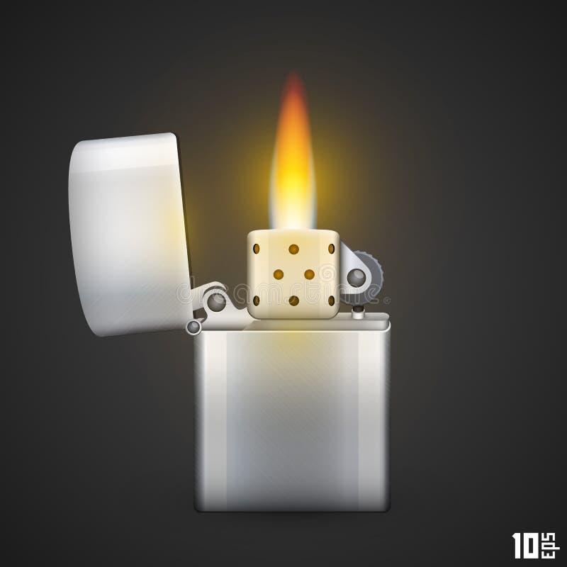 Aansteker met brand royalty-vrije illustratie