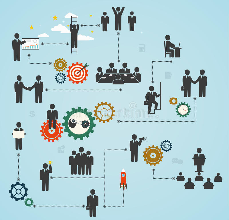 Aantal arbeidskrachten, team die, bedrijfsmensen in motie, motivatie F werken stock illustratie