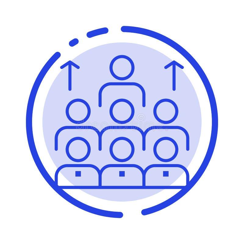 Aantal arbeidskrachten, Zaken, Mens, Leiding, Beheer, Organisatie, Middelen, de Lijnpictogram van de Groepswerk Blauw Gestippelde royalty-vrije illustratie