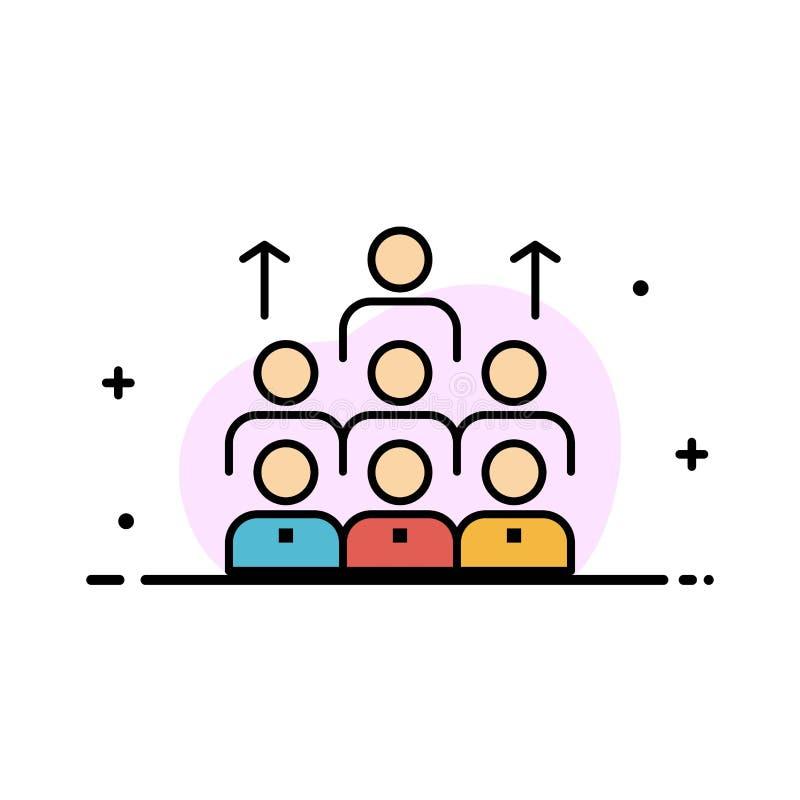 Aantal arbeidskrachten, Zaken, Mens, Leiding, Beheer, Organisatie, Middelen, Groepswerk Bedrijfs Vlakke Lijn Gevulde Pictogramvec vector illustratie