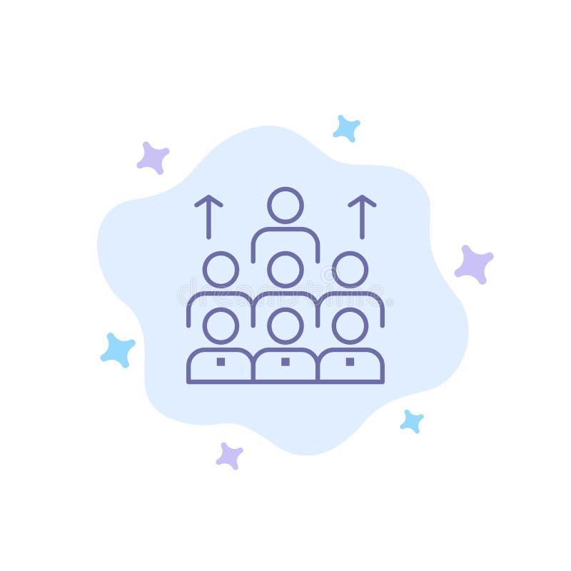 Aantal arbeidskrachten, Zaken, Mens, Leiding, Beheer, Organisatie, Middelen, Groepswerk Blauw Pictogram op Abstracte Wolkenachter royalty-vrije illustratie