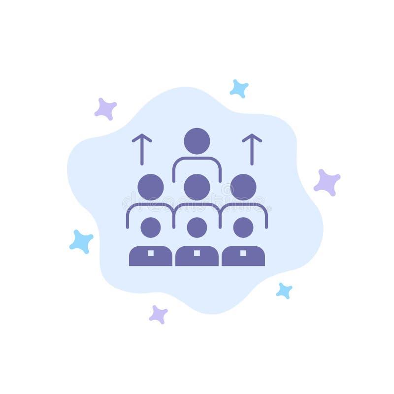 Aantal arbeidskrachten, Zaken, Mens, Leiding, Beheer, Organisatie, Middelen, Groepswerk Blauw Pictogram op Abstracte Wolkenachter vector illustratie
