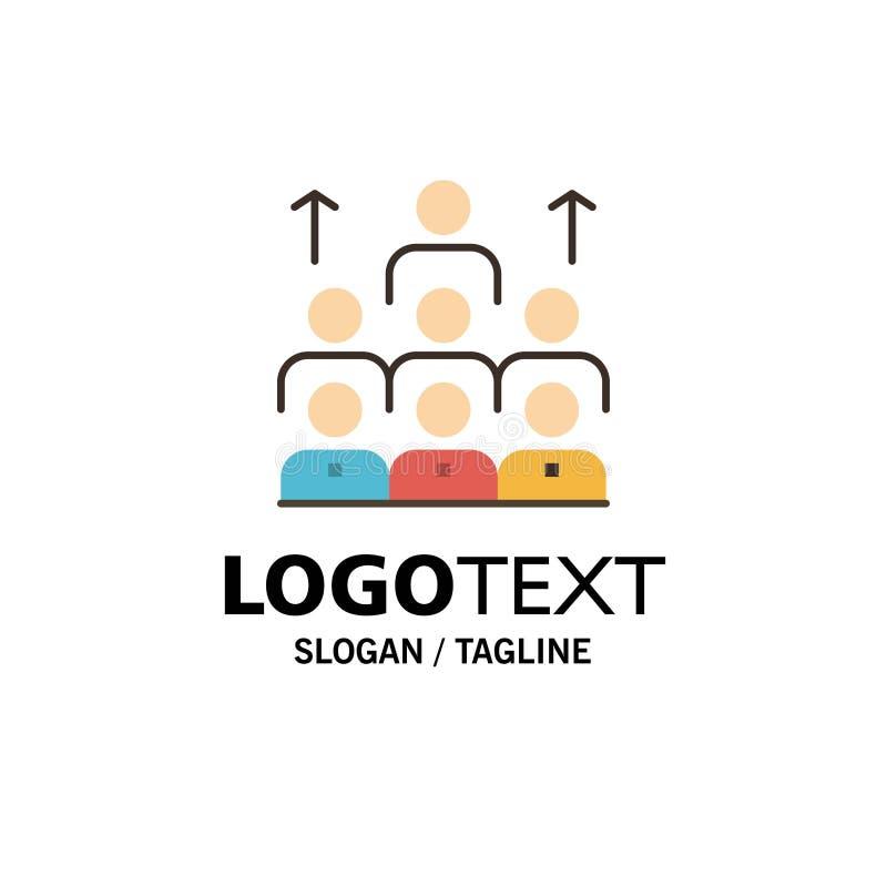 Aantal arbeidskrachten, Zaken, Mens, Leiding, Beheer, Organisatie, Middelen, Groepswerkzaken Logo Template vlakke kleur vector illustratie