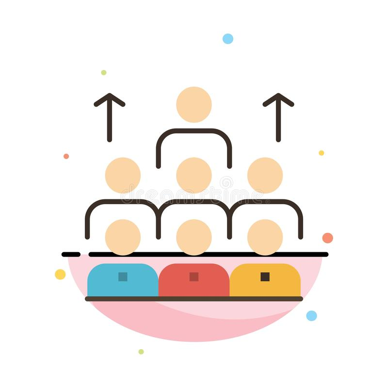 Aantal arbeidskrachten, Zaken, Mens, Leiding, Beheer, Organisatie, Middelen, het Pictogrammalplaatje van de Groepswerk Abstract V stock illustratie