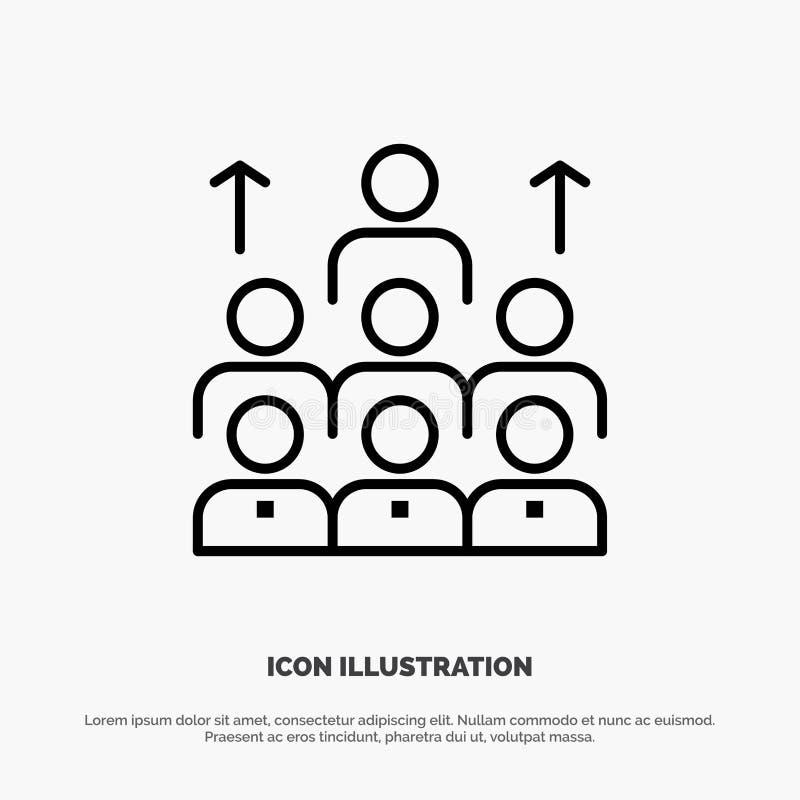 Aantal arbeidskrachten, Zaken, Mens, Leiding, Beheer, Organisatie, Middelen, het Pictogramvector van de Groepswerklijn vector illustratie