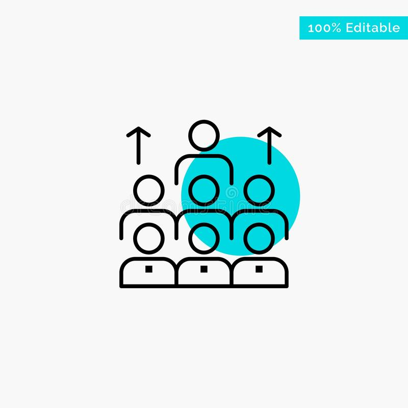 Aantal arbeidskrachten, Zaken, Mens, Leiding, Beheer, Organisatie, Middelen, van het de cirkelpunt van het Groepswerk het turkooi royalty-vrije illustratie