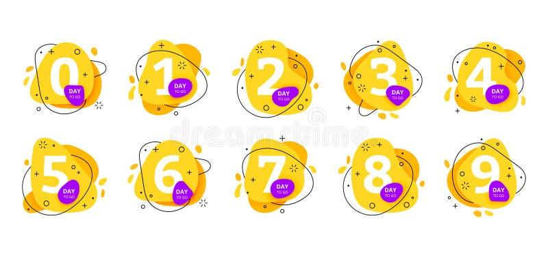 Aantal dagen om te gaan pictogram van de kentekens het laatste aftelprocedure vector illustratie