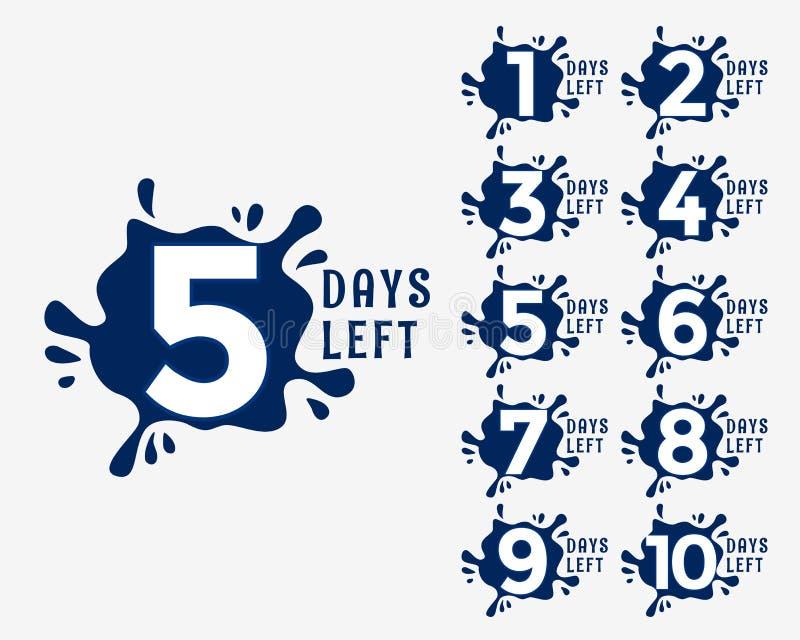 Aantal dagen verlaten in het effect van de inktdaling stijl royalty-vrije illustratie