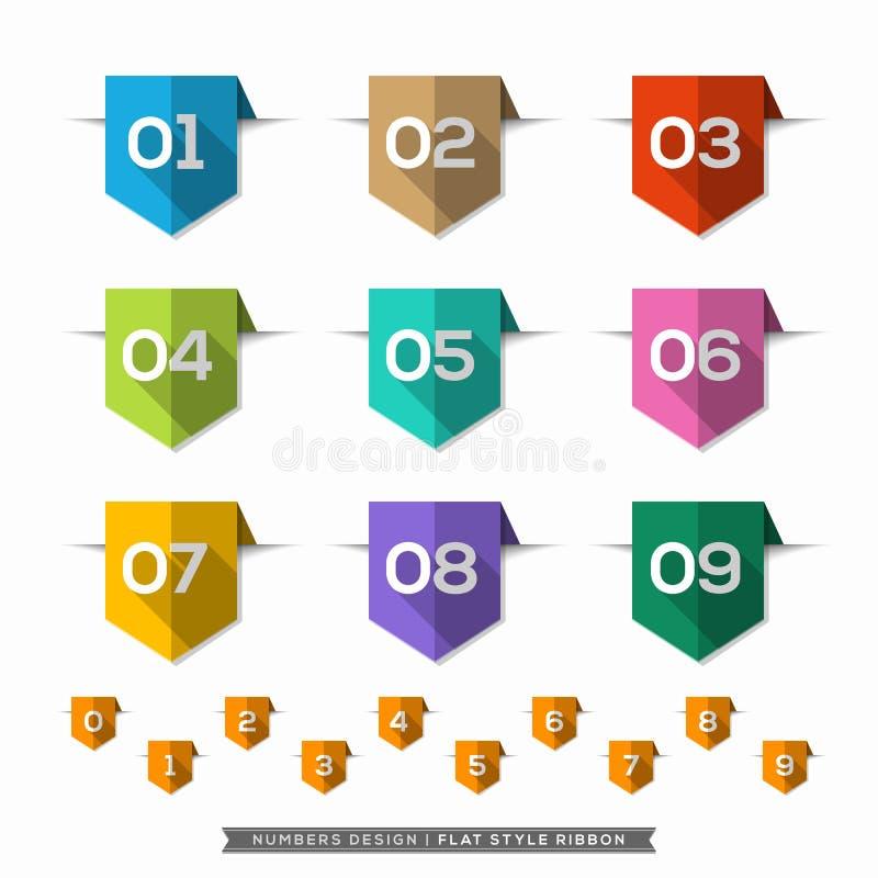 Aantal in lange Geplaatste de schaduw Vlakke Pictogrammen van het Referentieetiket royalty-vrije illustratie