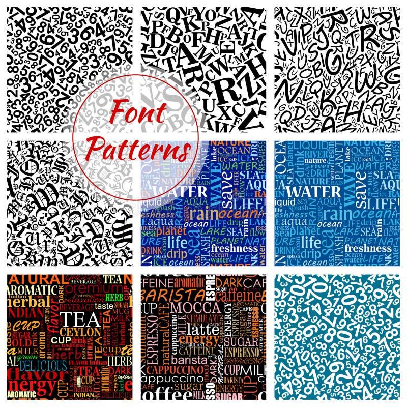 Aantal, naadloze het patroonachtergrond van de brievendoopvont vector illustratie