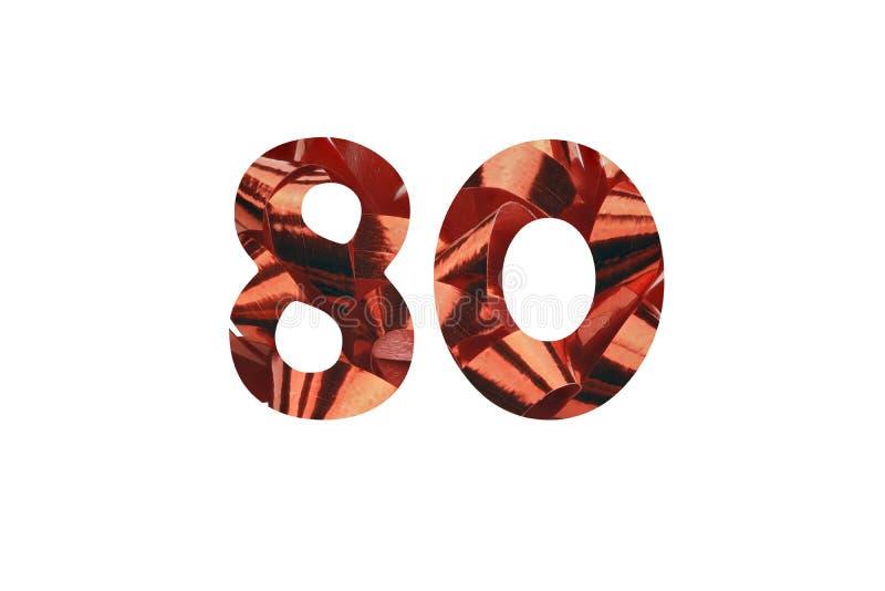 Aantal 80 verwijderde van een macro van rood giftlint dat wordt geschoten stock afbeelding