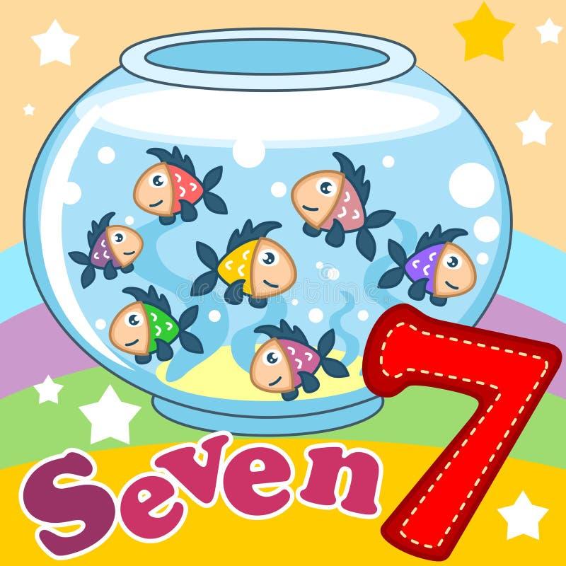 Aantal zeven met een illustratie vector illustratie
