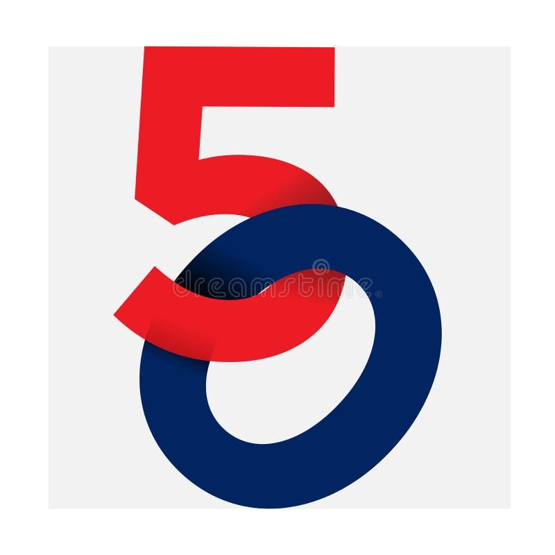 Aantalillustratie geïsoleerde logo_50 rode blauwe kleur binnen met achtergrond royalty-vrije illustratie