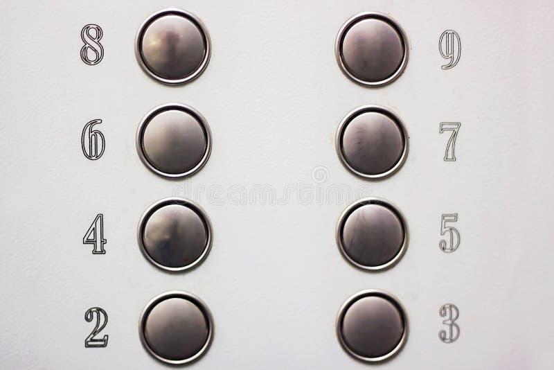 Aantalknopen in de Lift op grijze achtergrond royalty-vrije stock afbeeldingen