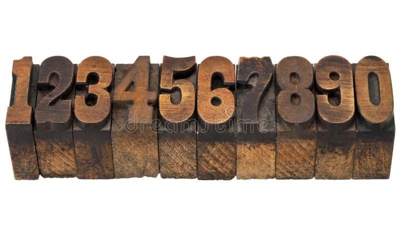 Aantallen in antiek letterzetseltype stock foto