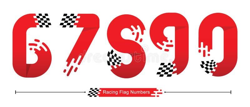 Aantallen die Vlagstijl in een reeks 67890 rennen royalty-vrije illustratie