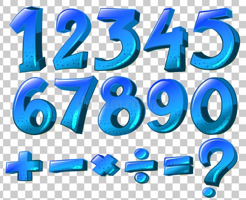 Aantallen en wiskundesymbolen in blauwe kleur stock illustratie