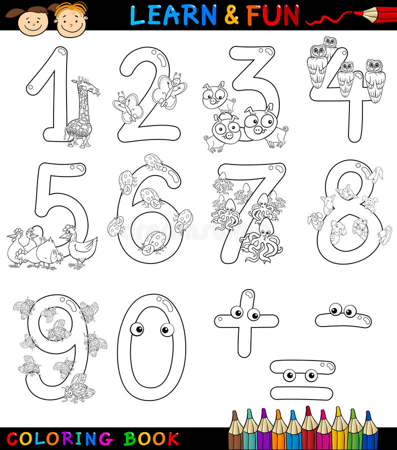 Aantallen met beeldverhaaldieren voor het kleuren royalty-vrije illustratie