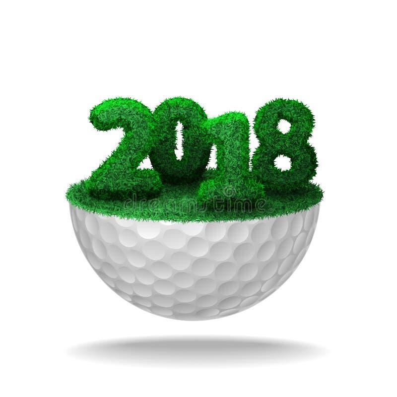 Aantallen van het gras van 2018 op golfbal vector illustratie
