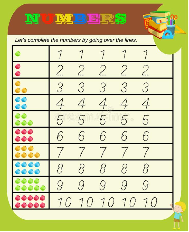 Aantallen van 0 tot 9, blad van de handschrift het vindende praktijk, het schrijven opleiding voor kinderen, jonge geitjes peuter vector illustratie