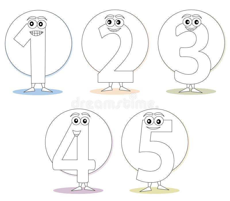 Aantallen voor het kleuren van boeken, deel 1 vector illustratie