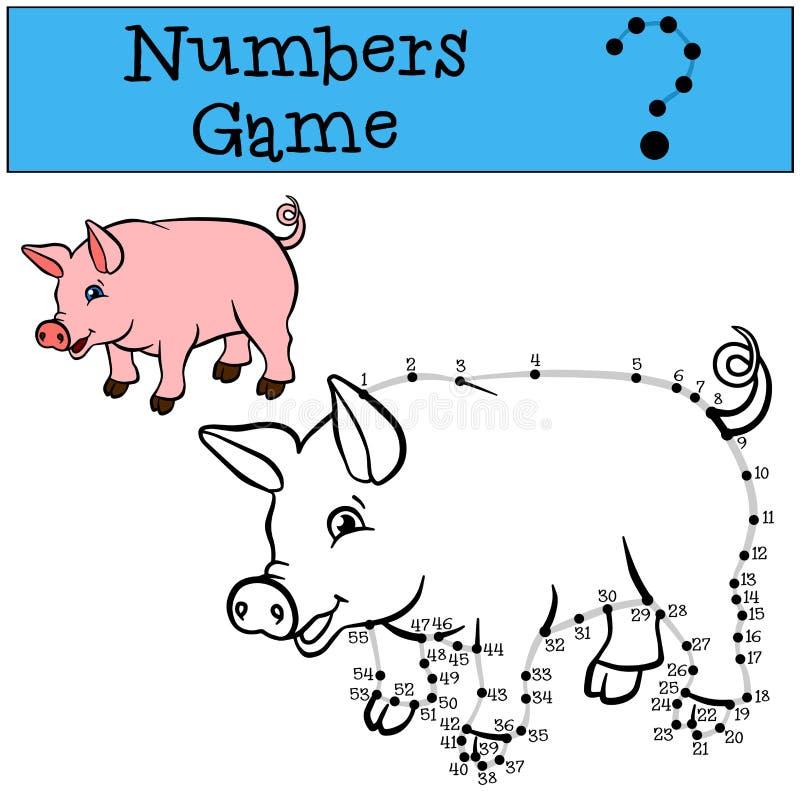 Aantallenspel met contour Weinig leuke varkensglimlachen vector illustratie