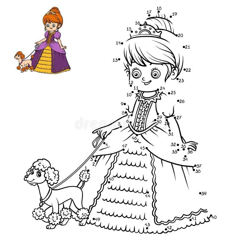 Aantallenspel, onderwijspunt om spel, Prinses te stippelen stock illustratie