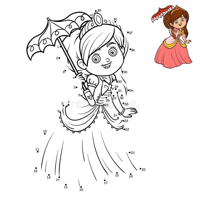 Aantallenspel, onderwijspunt om spel, Prinses te stippelen vector illustratie