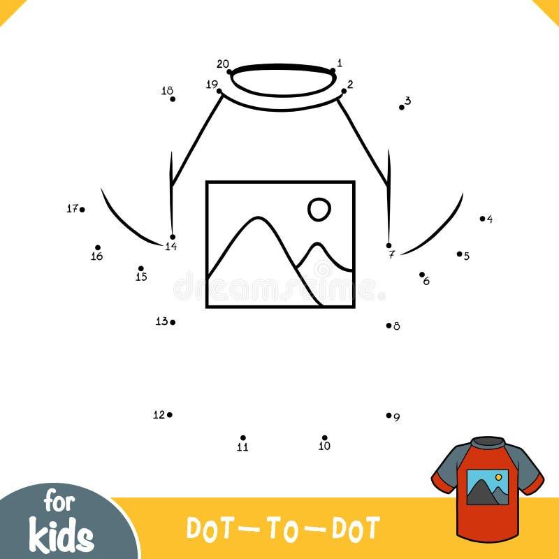 Aantallenspel, onderwijspunt om spel, T-shirt met een beeld van bergen te stippelen royalty-vrije illustratie