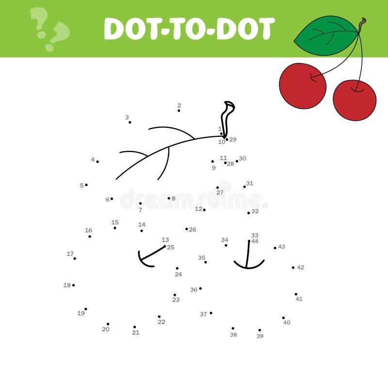 Aantallenspel, onderwijspunt om spel voor kinderen te stippelen, Kers vector illustratie