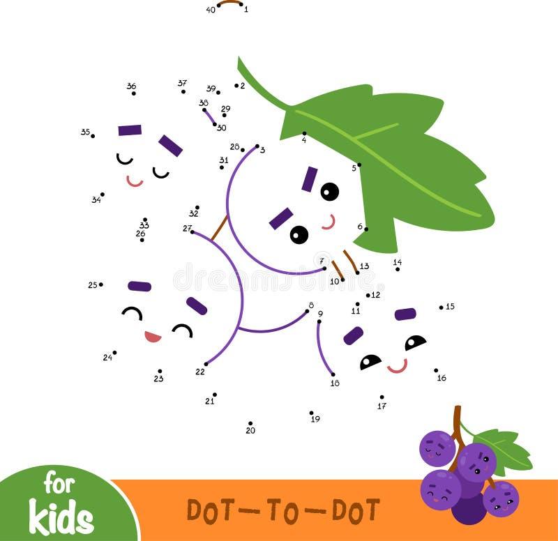 Aantallenspel, onderwijsspel voor kinderen, Druiven vector illustratie