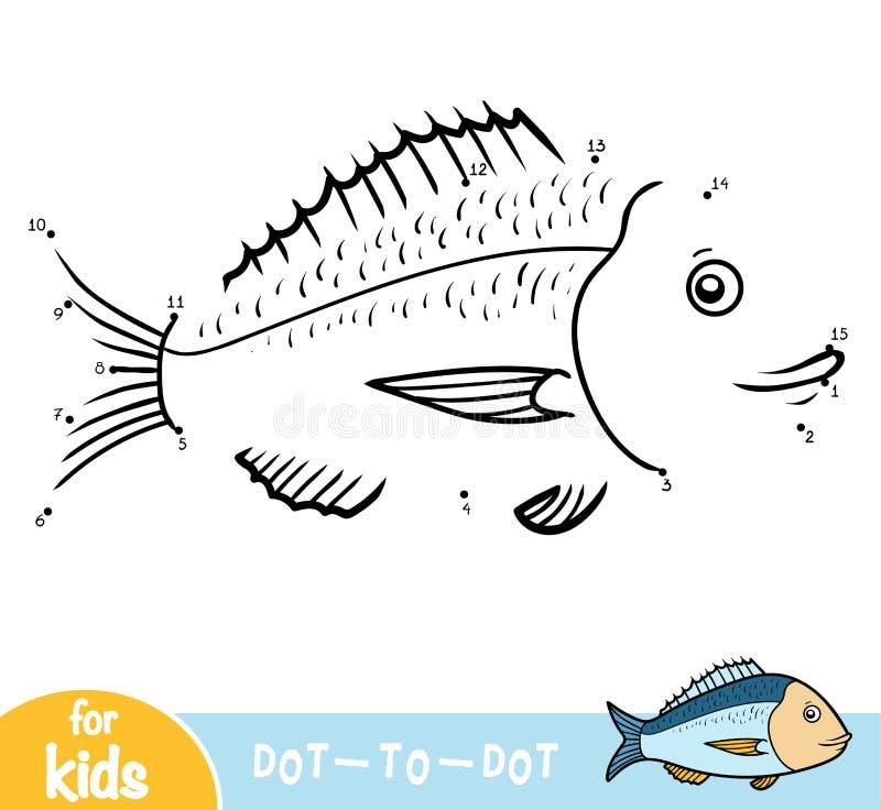 Aantallenspel, onderwijsspel voor kinderen, jonge zeug-Hoofdbrasem stock illustratie