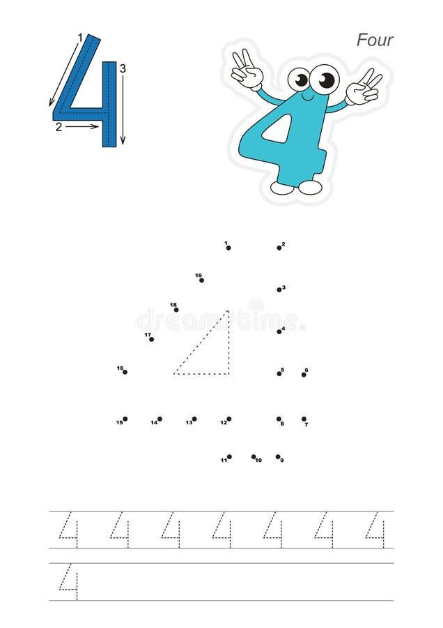 Aantallenspel voor figuur Vier stock illustratie