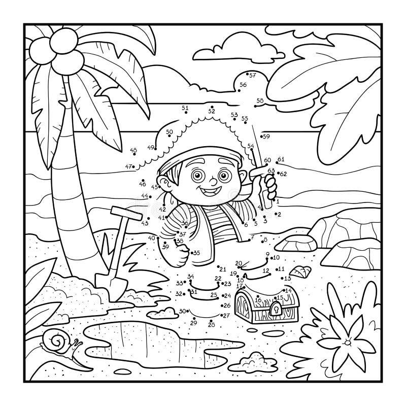 Aantallenspel voor kinderen, punt om onderwijsspel te stippelen piraat vector illustratie