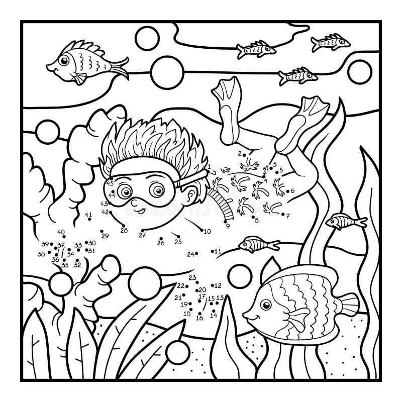 Aantallenspel voor kinderen, weinig jongen die in het overzees zwemmen vector illustratie